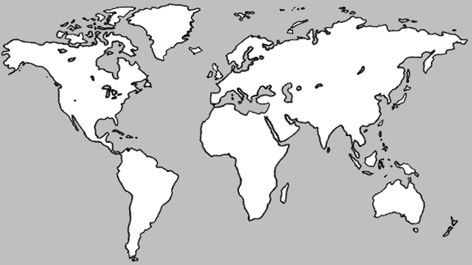 Blank world outline map